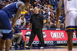 Dec 1, 2019; Morgantown, WV, USA; West Virginia Mountaineers head coach Bob Huggins yells from the bench during the first half against the Rhode Island Rams at WVU Coliseum. Mandatory Credit: Ben Queen-USA TODAY Sports