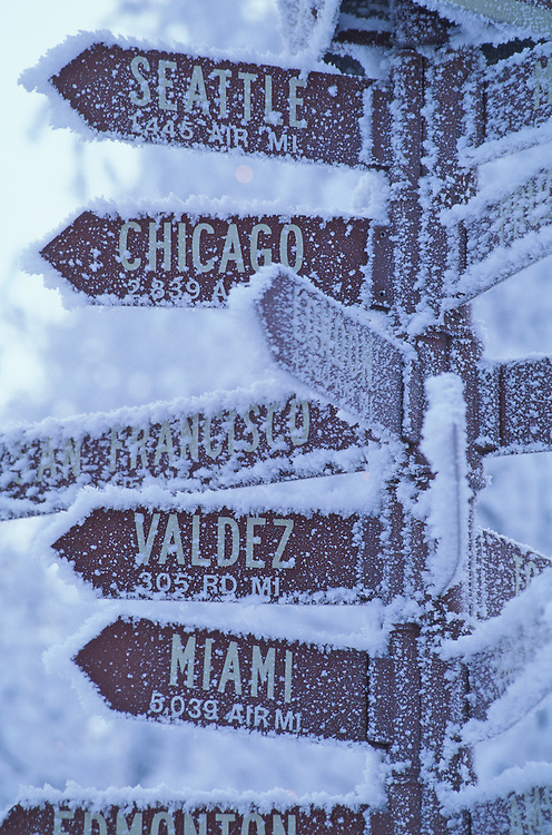Frosted sign post, downtown Anchorage