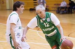 Ziga Bojc vs Iztok Rems at basketball match between Slovenian Basketball journalists and  Basketball federation of Slovenia, on March 13, 2013 in Arena Vitranc, Kranjska Gora, Slovenia. (Photo by Vid Ponikvar / Sportida.com)