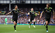 Pedro of Chelsea celebrates scoring during the English Premier League match at Goodison Park , Liverpool. Picture date: April 30th, 2017. Photo credit should read: Lynne Cameron/Sportimage