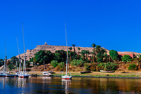 Boats on the Nile River at Aswan, Egypt