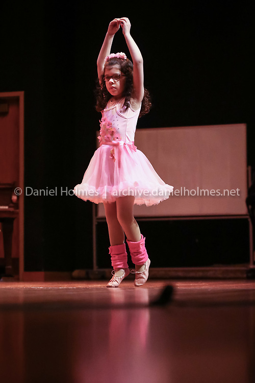 """(3/19/16, MILFORD, MA) Brookside Elementary School's Eliza Arvelos performs """"The Wide Man & The Foolish Man"""" during Brookside's Got Talent at Stacy Middle School in Milford on Saturday. Daily News and Wicked Local Photo/Dan Holmes"""