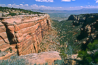 Red Canyon with the Grand Valley in the distance.  Colorado National Monument, Colorado.