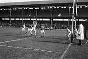 24/02/1963<br /> 02/24/1963<br /> 24 February 1963<br /> Railway Cup Semi-Final: Munster v Ulster at Croke Park, Dublin.<br /> This shot by Christy Ring went inches wide of the post.