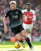 Burnley's Charlie Taylor pushes forward, away from Arsenal's Ainsley Maitland-Niles<br /> <br /> <br /> Photographer David Shipman/CameraSport<br /> <br /> The Premier League - Arsenal v Burnley - Saturday 22nd December 2018 - The Emirates - London<br /> <br /> World Copyright © 2018 CameraSport. All rights reserved. 43 Linden Ave. Countesthorpe. Leicester. England. LE8 5PG - Tel: +44 (0) 116 277 4147 - admin@camerasport.com - www.camerasport.com