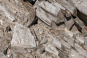 Close up of rocks and geological formationa at the Stubaier Wildspitze is a 3,341-metre-high mountain in the Stubai Alps in the Austrian state of Tyrol. Northeast of the summit lie two glaciers, the Schaufelferner and the Daunkogelferner, which form the basis for the Stubai Glacier ski region.