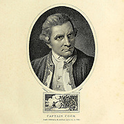 Captain James Cook FRS (7 November 1728[NB 1] – 14 February 1779) was a British explorer, navigator, cartographer, and captain in the British Royal Navy, famous for his three voyages between 1768 and 1779 in the Pacific Ocean and to Australia in particular. He made detailed maps of Newfoundland prior to making three voyages to the Pacific, during which he achieved the first recorded European contact with the eastern coastline of Australia and the Hawaiian Islands, and the first recorded circumnavigation of New Zealand. Copperplate engraving From the Encyclopaedia Londinensis or, Universal dictionary of arts, sciences, and literature; Volume V;  Edited by Wilkes, John. Published in London in 1810