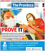 August 23, 2021 - CANADA: Front-page: Today's Newspapers In Canada