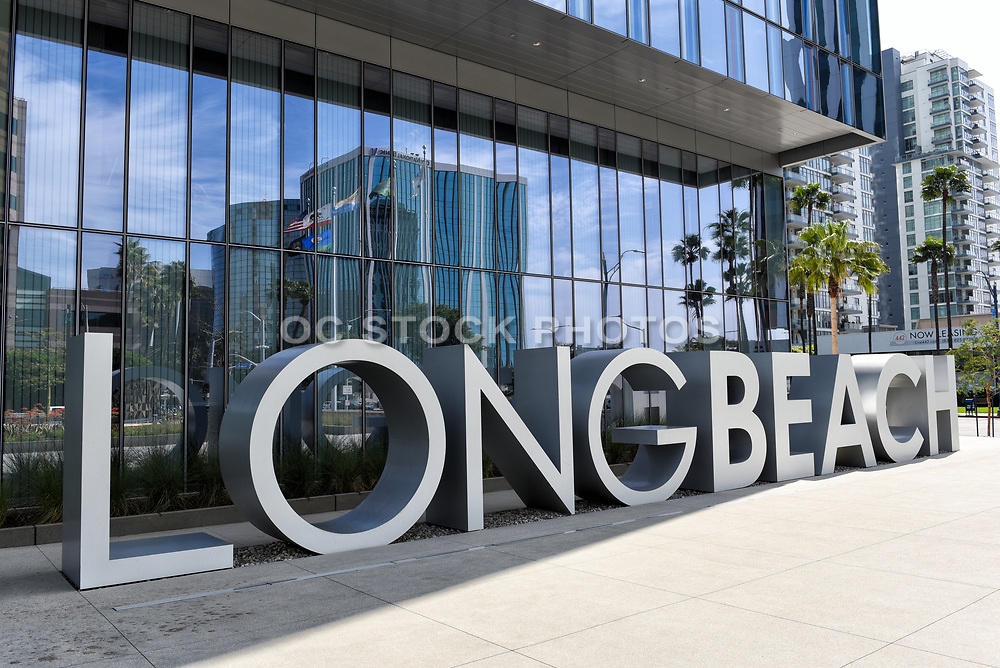 Long Beach Metal Letters at the Civic Center on Ocean Boulevard Long Beach