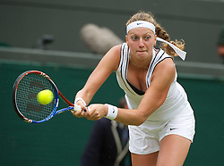 28.06.2011, Wimbledon, London, GBR, WTA Tour, Wimbledon Tennis Championships, im Bild Petra Kvitova (CZE) in action during the Ladies' Singles Quarter-Final match on day eight of the Wimbledon Lawn Tennis Championships at the All England Lawn Tennis and Croquet Club. EXPA Pictures © 2011, PhotoCredit: EXPA/ Propaganda/ David Rawcliffe +++++ ATTENTION - OUT OF ENGLAND/UK +++++ // SPORTIDA PHOTO AGENCY