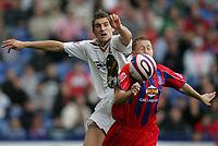 Photo: Lee Earle.<br /> Crystal Palace v Hull City. Coca Cola Championship. 06/10/2007. Hull's Samuel Ricketts (L) clashes with David Martin.