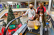 Shoppers (from left) Gianna Stassi, 11, Kim Widener, Michelle Stassi, and Bella Widener, 10, ride the center court escalator up to the second level of the St. Clair Square shopping mall in Fairview Heights on Friday November 27, 2020. The Widener and Stassi families are related and are carrying on a 40 year-old Black Friday shopping tradition started by Rose Smith, grandmother of Michelle Stassi.<br /> Photo by Tim Vizer
