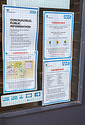National Health Service NHS government information Coronavirus notice glass door entrance to GP surgery, Alderton, Suffolk, England, UK, -15 March 2020