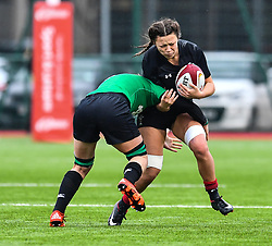 Wales women's Alisha Butchers is tackled by Ireland women's Ciara Griffin<br /> <br /> Photographer Craig Thomas/Replay Images<br /> <br /> International Friendly - Wales women v Ireland women - Sunday 21th January 2018 - CCB Centre for Sporting Excellence - Ystrad Mynach<br /> <br /> World Copyright © Replay Images . All rights reserved. info@replayimages.co.uk - http://replayimages.co.uk