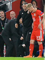 Football - 2018 / 2019 UEFA Nations League B - Group Four: Wales vs. Republic of Ireland<br /> <br /> Wales manager Ryan Giggs speaks to Mathew Smith of Wales on the touchline , at Cardiff City Stadium.<br /> <br /> COLORSPORT/WINSTON BYNORTH