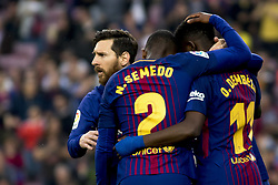 May 9, 2018 - Barcelona, Catalonia, Spain - Leo Messi, Nelson Semedo and Ousmane Dembélé during the spanish football league La Liga match between FC Barcelona and Villarreal at the Camp Nou Stadium in Barcelona, Catalonia, Spain on May 9, 2018  (Credit Image: © Miquel Llop/NurPhoto via ZUMA Press)