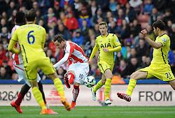 Stoke City's Marko Arnautovic takes a shot on goal - Photo mandatory by-line: Dougie Allward/JMP - Mobile: 07966 386802 - 09/05/2015 - SPORT - Football - Stoke - Britannia Stadium<br />  - Stoke v Tottenham Hotspur - Barclays Premier League
