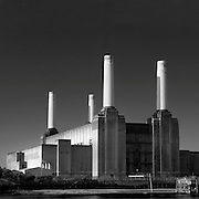Battersea Power Station, london, black and white, square