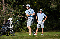 HILVERSUM - Sweden players Albin Bergstrom and David Nyfjall , foursomes against Denmark (3-0).  Quarter finals. ELTK Golf 2020 The Dutch Golf Federatio.n (NGF), The European Golf Federation (EGA) and the Hilversumsche Golf Club will organize Team European Championships for men. COPYRIGHT KOEN SUYK