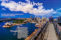 Double page spread in EnCompass Magazine showing the Sydney Harbour Bridge Climb in Sydney, Australia with the Sydney Opera House in background by Blaine Harrington III.