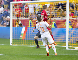 September 30, 2018 - Harrison, New Jersey, United States - Marc Rzatkowski (90) of Red Bulls rises for ball during regular MLS game against Atlanta United FC at Red Bull Arena Red Bulls won 2 - 0  (Credit Image: © Lev Radin/Pacific Press via ZUMA Wire)