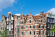 Traditional crow step - stepped - Dutch gables at Prinsengracht and Brouwersgracht in Amsterdam, Holland, The Netherlands