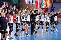 Players of Krim at handball match of Round 2 of Champions League between RK Krim Mercator and Aalborg DH, on October 31, 2009, in Arena Kodeljevo, Ljubljana, Slovenia.  Krim won 30:23. (Photo by Vid Ponikvar / Sportida)