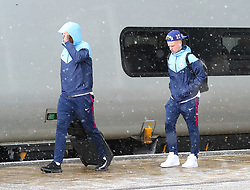 Vincent Kompany and Oleksandr Zinchenko and The Manchester City team are seen at Manchester Piccadilly Train Station on Thursday morning as they make their trip to London to face Arsenal in the premier league