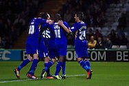 David Nugent (35) and his team mates celebrate their second goal for Leicester City during the Skybet Championship match, Yeovil Town v Leicester City at Huish Park Stadium in Yeovil on Tuesday 1st October 2013. Picture by Sophie Elbourn, Andrew Orchard Sports Photography,