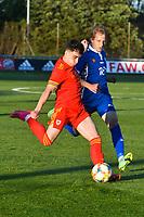 Football - 2023 UEFA U21 Championship - Qualifying - Group E - Wales vs Moldova - Steboneath Park, Llanelli<br /> <br /> Niall Huggins Wales crosses the ball<br /> <br /> COLORSPORT/WINSTON BYNORTH