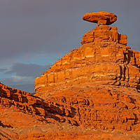 Mexican Hat Rock glows in a sunset in southern Utah.  This was earlier right on the boundary of Bears Ears National Monument.