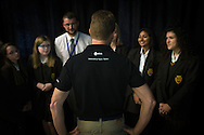 British Astronaut Tim Peake pictured with schoolchildren during the UK Space Agency Schools Conference hosted by the University of Portsmouth at the Guildhall in the city.<br /> The conference celebrated the work of over a million UK school students inspired by Peake's Principia mission, which saw the flight dynamics and evaluation graduate spend more than six months on board the International Space Station.<br /> Youngsters had the chance to present their work through talks and exhibitions to experts from the UK Space Agency, European Space Agency (ESA), partner organisations and the space sector. Most also had the chance to meet Tim.<br /> Picture date Wednesday 2nd November, 2016.<br /> Picture by Christopher Ison for the University of Portsmouth.<br /> Contact +447544 044177 chris@christopherison.com