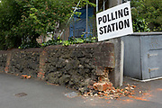 London, 8th June 2017: Damaged bricks on the wall outside a polling station on the morning of the UK 2017 general elections in Half Moon Lane, Dulwich in London, England. Richard Baker / Alamy Live News