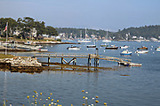West Boothbay Harbor looking toward the yacht club during summer in Boothbay Harbor, Maine.