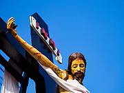 30 MARCH 2018 - BANGKOK, THAILAND: Jesus on the cross during Good Friday observances at Santa Cruz Church in the Thonburi section of Bangkok. Santa Cruz is more than 350 years old and is one of the oldest Catholic churches in Thailand.        PHOTO BY JACK KURTZ