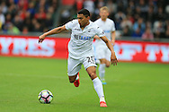 Jefferson Montero of Swansea city in action. Premier league match, Swansea city v Hull city at the Liberty Stadium in Swansea, South Wales on Saturday 20th August 2016.<br /> pic by Andrew Orchard, Andrew Orchard sports photography.