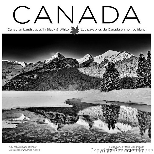 PRODUCT: Calendar<br /> TITLE: 2020 Canadian Landscapes in Black & White<br /> CLIENT: Wyman Publsihing