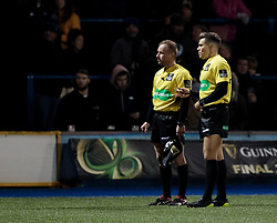 Referee Craig Evans watches the replays waiting for the TMO<br /> <br /> Photographer Simon King/Replay Images<br /> <br /> Guinness Pro14 Round 9 - Cardiff Blues v Connacht Rugby - Friday 24th November 2017 - Cardiff Arms Park - Cardiff<br /> <br /> World Copyright © 2017 Replay Images. All rights reserved. info@replayimages.co.uk - www.replayimages.co.uk