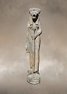 """Ancient Egyptian statue of goddess Sekhmet, grandodiorite, New Kingdom, 18th & 20thDynasty (1390-1150 BC), Thebes. Egyptian Museum, Turin. Grey Background.<br /> <br /> Sekhmet, """"the Powerful One"""" was a fearsome goddess symbolised by her lioness head. Daughter of the sun she personifies the disk of the world during the day. Sekhmet is the angry manifestation of Hathor inflicting the scourges of summer heat, famine and illness which is why the goddess needed to be exorcised every day. Drovetti Collection. C 263 .<br /> <br /> If you prefer to buy from our ALAMY PHOTO LIBRARY  Collection visit : https://www.alamy.com/portfolio/paul-williams-funkystock/ancient-egyptian-art-artefacts.html  . Type -   Turin   - into the LOWER SEARCH WITHIN GALLERY box. Refine search by adding background colour, subject etc<br /> <br /> Visit our ANCIENT WORLD PHOTO COLLECTIONS for more photos to download or buy as wall art prints https://funkystock.photoshelter.com/gallery-collection/Ancient-World-Art-Antiquities-Historic-Sites-Pictures-Images-of/C00006u26yqSkDOM"""