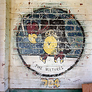 WW2 vulture emblem painting at the former Flixton air force base in Suffolk, England. Flixton was a former airfield located around 3 miles (4.8 km) south-west of Bungay and home  to the 706th Bombardment Squadron, an operational squadrons of the USAAF's 446th Bombardment Group (Heavy). The 446th operated chiefly against strategic objectives on the Continent from December 1943 until April 1945. Targets included U-boat installations at Kiel, the port at Bremen, a chemical plant at Ludwigshafen, ball-bearing works at Berlin, aero-engine plants at Rostock, aircraft factories at Munich, marshalling yards at Coblenz, motor works at Ulm, and oil refineries at Hamburg. After the war, the buildings reverted to agricultural and industrial use.