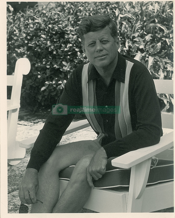 April 30, 2019 - Boston, Massachusetts, U.S. - A remarkable assortment of 19 original negatives of President John F. Kennedy will be auctioned by Boston-based RR Auction.Ê The photographs were taken at the 'Winter White House,' the Kennedys Palm Beach residency at 1095 N. Ocean Boulevard, in December 1962 and January 1963. The images were taken by photographer Eddie Johnson, who traveled to the Floridian getaway as the personal assistant of Elaine de Kooning, a celebrated portrait artist recently commissioned to paint President Kennedy's official portrait for the Truman Library.Ê A total of nine strips, feature 19 images of either JFK, De Kooning, or both, with all but two images featuring the president, who is either captured in a full-length stance or in a seated pose reading or conversing with Secretary of Agriculture Orville Freeman.ÊThe negatives include their original sleeves, which are dated either December 29, 1962 or January 3, 1963. Also included are two 35mm negative strips, with one containing six images and the other three images, with subjects similar to the above negatives.Ê Accompanied by a group of 13 modern photo prints, 11 matte-finish and two glossy, containing select images of the president and De Kooning, with reverse of glossy photos bearing an Eddie Johnson copyright stamp dated to 1963, and two typed draft letters from Johnson to President Clinton. (Credit Image: © Eddie Johnson Estate/RR AUCTION via ZUMA Wire/ZUMAPRESS.com)