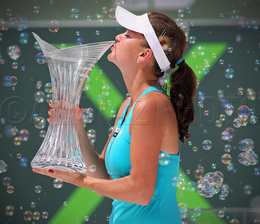 Poland's Agnieszka Radwanska defeats Russia's Maria Sharapova 7-5, 6-4 at Sony Ericsson Open on Key Biscayne on Saturday, March 31, 2012.