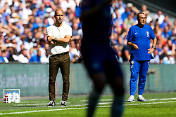 Manchester City manager Pep Guardiola and Chelsea manager Maurizio Sarri look on - Rogan/JMP - 05/08/2018 - FOOTBALL - Wembley Stadium - London, England - Chelsea v Manchester City - The FA Community Shield.
