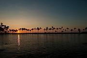Sunset at Anaehoomalu Bay along the Kona Coast of the Big Island of Hawaii.