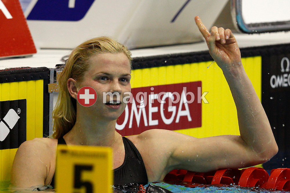 Britta STEFFEN of Germany jubilates after winning the women's 100m Freestyle Final during the 15th European Short Course Swimming Championships in Szczecin, Poland, Friday, Dec. 9, 2011. (Photo by Patrick B. Kraemer / MAGICPBK)