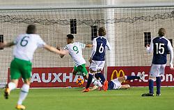 Repulic of Ireland's Adam Idah scoring their first goal. Scotland 0 v 3 Repulic of Ireland, Under 16 Victory Shield played at Oriam, Edinburgh.