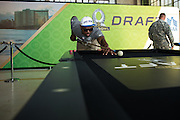 January 27 2016: Oakland Raiders Khalil Mack plays pool during the Pro Bowl Draft at Wheeler Army Base on Oahu, HI. (Photo by Aric Becker/Icon Sportswire)