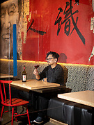 New York, NY - February 27,, 2021: Portraits of Miguel de Leon, sommelier and writer at  Pinch Chinese in SoHo.<br /> <br /> Photos by Clay Williams for The New York Times.<br /> <br /> © Clay Williams / claywilliamsphoto.com