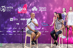 PORTOROZ, SLOVENIA - SEPTEMBER 19:  Anze Baselj and  Katarina Srebotnik of Slovenia during the WTA 250 Zavarovalnica Sava Portoroz at SRC Marina, on September 19, 2021 in Portoroz / Portorose, Slovenia. Photo by Vid Ponikvar / Sportida