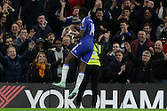 Bertrand Traore of Chelsea celebrates after scoring his sides 5th goal to make it 5-1. The Emirates FA Cup, 5th round match, Chelsea v Manchester city at Stamford Bridge in London on Sunday 21st Feb 2016.<br /> pic by John Patrick Fletcher, Andrew Orchard sports photography.